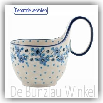 Bunzlau Waterscoop/Soepkom 400ml (1845) - Blue White Love (2328)