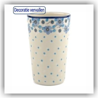 Bunzlau Beker strak L - 330ml (2349) - Blue White Love (2328)